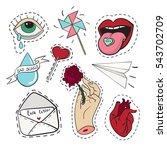 set of stickers in love... | Shutterstock .eps vector #543702709