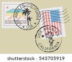 postal stamp symbols 'los... | Shutterstock .eps vector #543705919