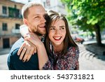 shining young couple hugs on... | Shutterstock . vector #543731821