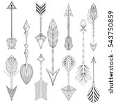 ethnic arrows set in zentangle... | Shutterstock . vector #543750859