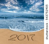 the inscription on the sand... | Shutterstock . vector #543752905