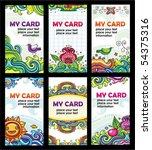 colorful floral cards set ... | Shutterstock .eps vector #54375316