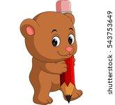 cute bear cartoon holding pencil | Shutterstock . vector #543753649