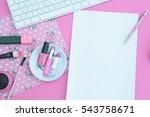 feminine workplace.overhead shot   Shutterstock . vector #543758671