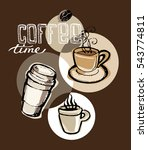 hand drawn doodle coffee... | Shutterstock .eps vector #543774811
