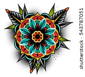 old school tattoo art flowers... | Shutterstock .eps vector #543787051
