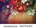 christmas fir tree on wooden... | Shutterstock . vector #543791491