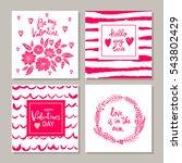 set of valentines day postcards....   Shutterstock .eps vector #543802429