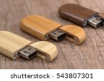 Wooden Usb Flash Drive On Desk