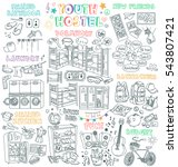 youth hostel vector drawings... | Shutterstock .eps vector #543807421
