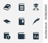 set of 9 simple reading icons.... | Shutterstock .eps vector #543824065