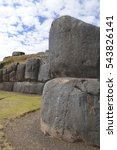 Small photo of GIant stone walls at Sacsayhuaman, Inca site near Cuzco, Peru