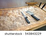 butcher knife on cutting board... | Shutterstock . vector #543843229