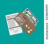 receipt  money cash with dollar ... | Shutterstock .eps vector #543845095