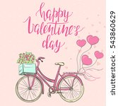 valentine's day template with... | Shutterstock .eps vector #543860629