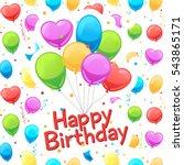happy birthday balloons card... | Shutterstock .eps vector #543865171