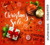 christmas sale vector red... | Shutterstock .eps vector #543869959