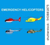 emergency helicopters set   | Shutterstock .eps vector #543881875