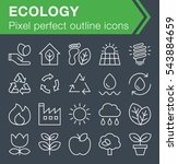 set of thin line ecology icons...