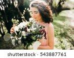elegant bride with bouquet in... | Shutterstock . vector #543887761