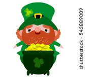 saint patrick with pot of gold. ... | Shutterstock .eps vector #543889009