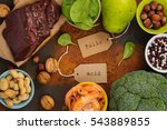 Stock photo healthy food sources of folic acid vitamin b 543889855