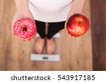diet. woman measuring body... | Shutterstock . vector #543917185