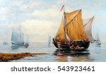 fisherman boat  paintings oil ... | Shutterstock . vector #543923461
