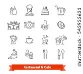 restaurant   cafe thin line art ... | Shutterstock .eps vector #543933631