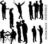 men drinking silhouettes - vector | Shutterstock vector #543935815