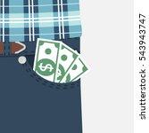 money in pocket. cash  earned...   Shutterstock .eps vector #543943747