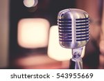 retro style microphone on stage ... | Shutterstock . vector #543955669
