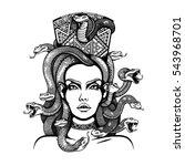 vector black and white medusa... | Shutterstock .eps vector #543968701