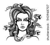 vector black and white medusa... | Shutterstock .eps vector #543968707