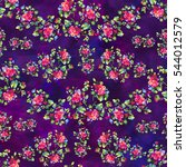 seamless floral pattern with... | Shutterstock . vector #544012579