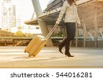 asian woman carry suitcase... | Shutterstock . vector #544016281