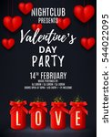 happy valentine's day party... | Shutterstock .eps vector #544022095