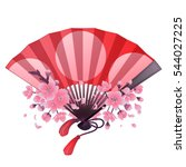 hand fan in red and pink colors ... | Shutterstock .eps vector #544027225