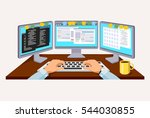 person working at the computer. ... | Shutterstock .eps vector #544030855