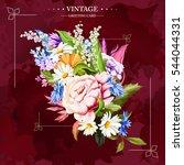 bouquet of flowers. vintage.... | Shutterstock .eps vector #544044331