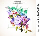 bouquet of flowers. vintage....   Shutterstock .eps vector #544044334