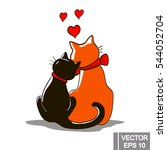 Two Loving Cats Together On...