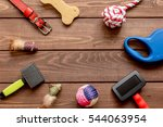 Stock photo concept pet care and training on wooden background top view 544063954