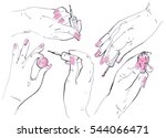 manicure. manicured nails. nail ... | Shutterstock . vector #544066471