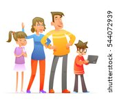 family characters set cartoon... | Shutterstock .eps vector #544072939