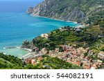 bird's eye view of coastal town ... | Shutterstock . vector #544082191