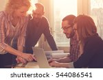group of people discussing... | Shutterstock . vector #544086541