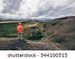 girl hinking the laugavegur... | Shutterstock . vector #544100515