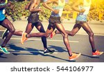 marathon runners running on... | Shutterstock . vector #544106977