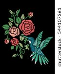 rose embroidery design and... | Shutterstock .eps vector #544107361